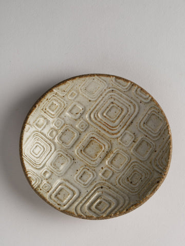 Ivory Ceramic Plate with Geometric designs