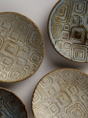 Blue and Brown Ceramic Plate with Geometric designs
