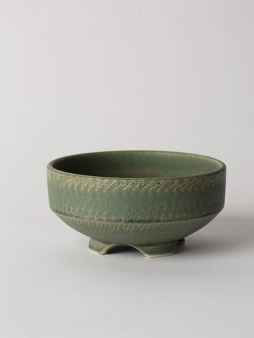 Green Japanese Ceramic Footed Bowl