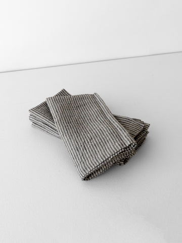 Washed Linen Napkin with Slate Stripes