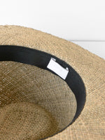 Wide Brim Pinch Panama Hat in Seagrass