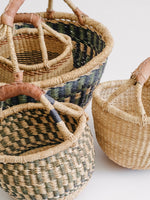 Handle Basket with Green and Blue Pattern