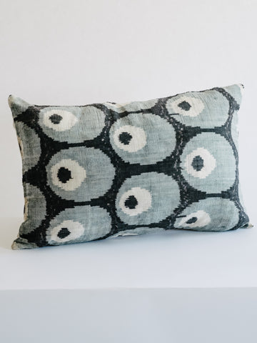 Ikat Pillow in Black with Blue