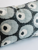 Custom Made Ikat Pillow in Black with Blue