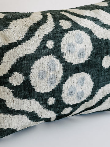 The Arc Custom Made Ikat Pillow in Black with White