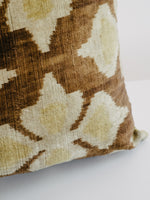 The Arc Custom Made Ikat Pillow in Caramel Brown and Gold