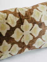 Ikat Pillow in Caramel Brown and Gold