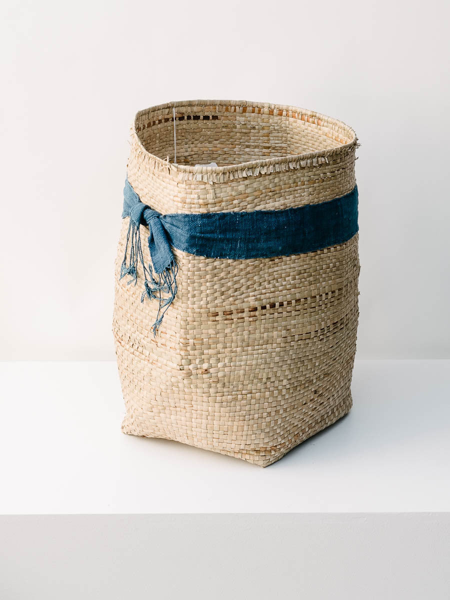 Small Woven Basket with Indigo Band