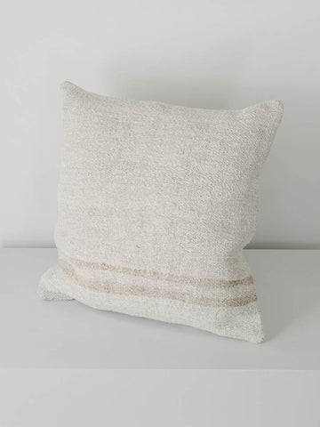 Vintage Hemp Pillow with Double Stripe - L