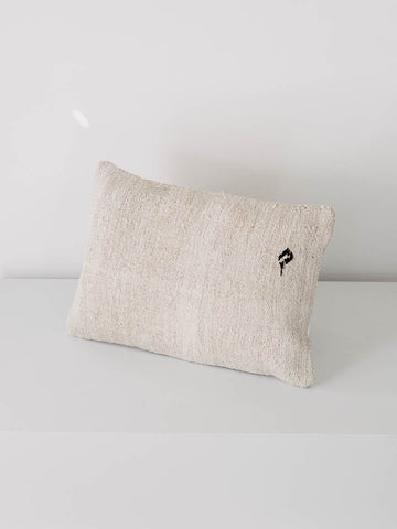 Small Pillow Made with Vintage Hemp and Single Accent in Dark Brown