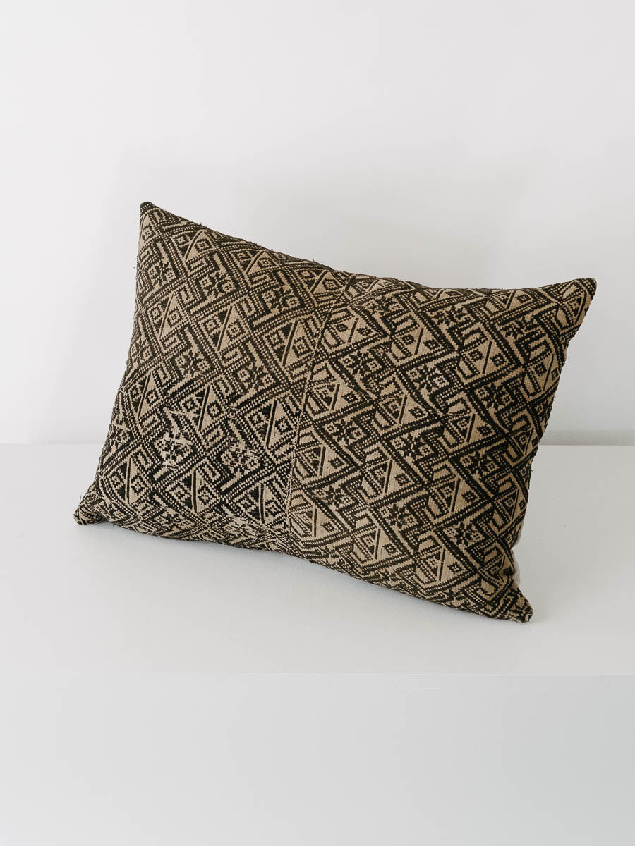 Custom Made Vintage Hmong Fabric Pillow in Charcoal Grey