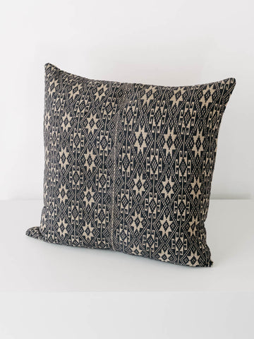 Custom Made Vintage Hmong Fabric Pillow in Navy Blue