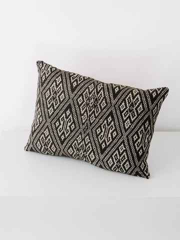 Vintage Hmong Fabric Pillow in Soft Black
