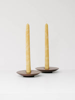 Pair of Handmade Beeswax Taper Candles in Yellow