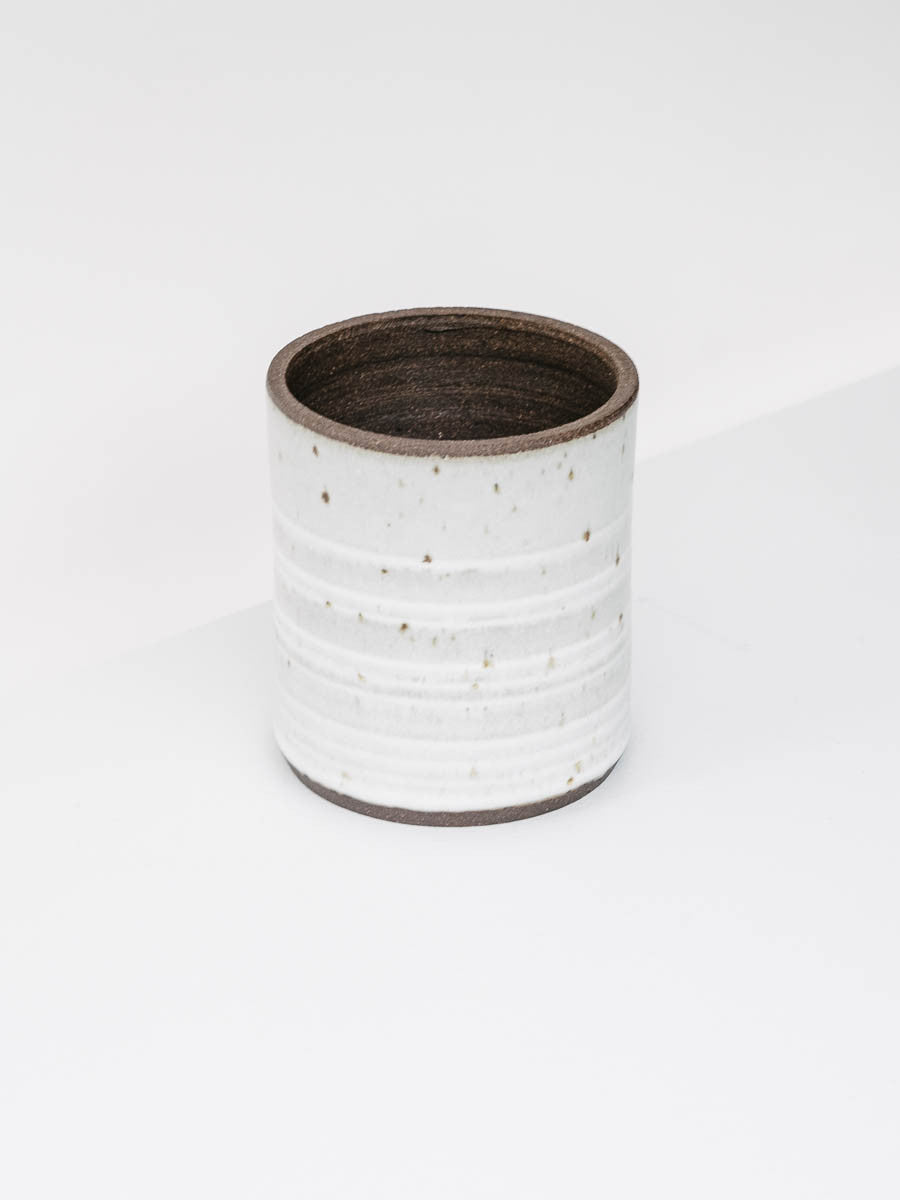 Cylindrical Ceramic Vessel in Speckled Stone