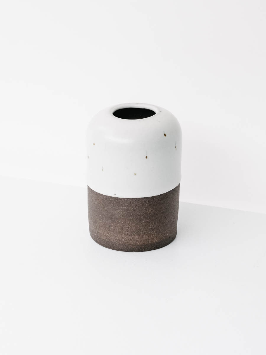 Dipped Vase in Speckled Stone and Dark Brown