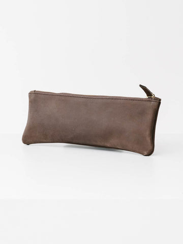 Long Nubuck Pouch in Dark Brown