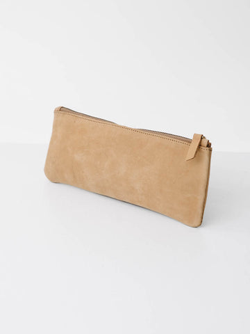 Long Nubuck Pouch in Tan