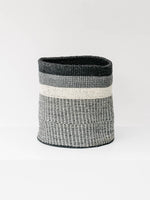 Large Sisal Cylindrical Basket in Black and White Wide Stripe