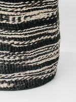 Medium Sisal Cylindrical Basket in Black and White Stripe