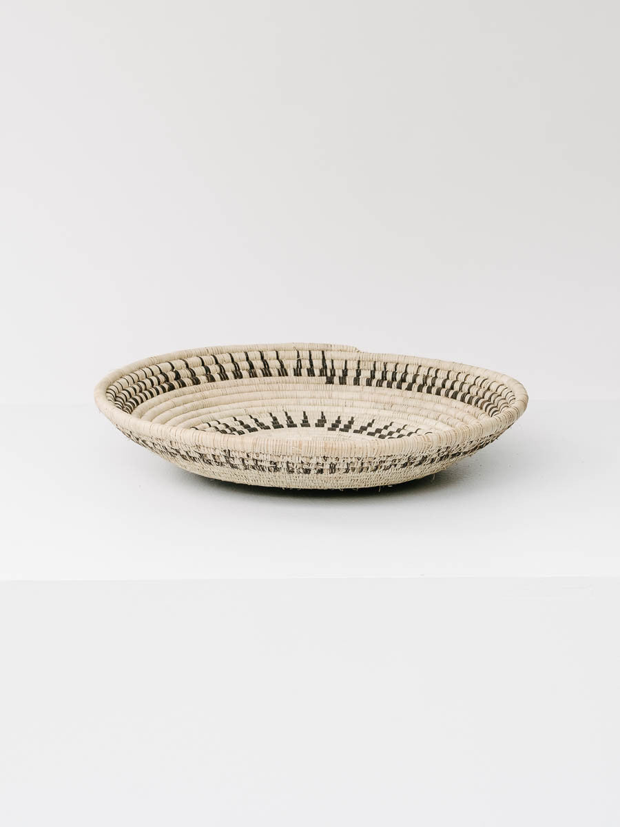 Woven Basket in Black and Natural White