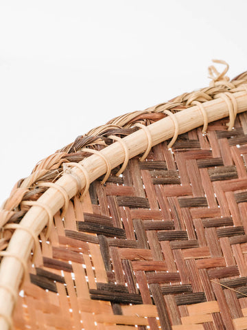 Woven Reed Basket with Diamond Pattern