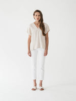 Annam Hemp V-Neck Top in Natural