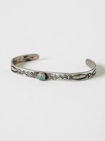 Zuni Children's Cuff in Sterling Silver and Turquoise