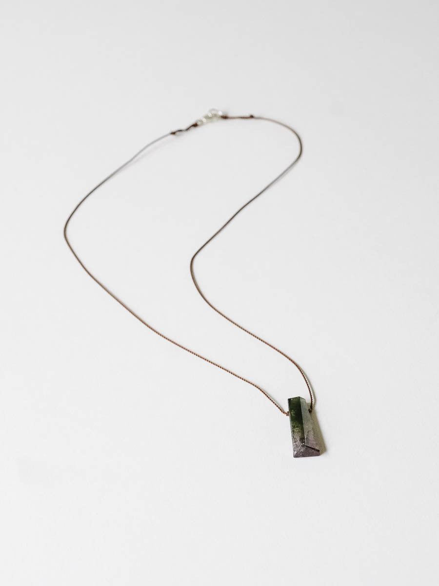 Geometric Tourmaline Necklace in Pink and Green