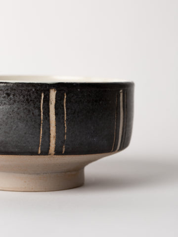 Black and White Footed Ceramic Bowl