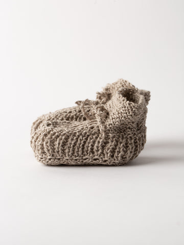 Hand Knitted Unbleached Linen Baby Shoes By Fog Linen