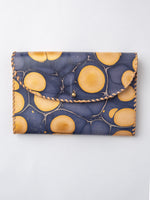 Lambskin Marbled Purse Wallet in Indigo