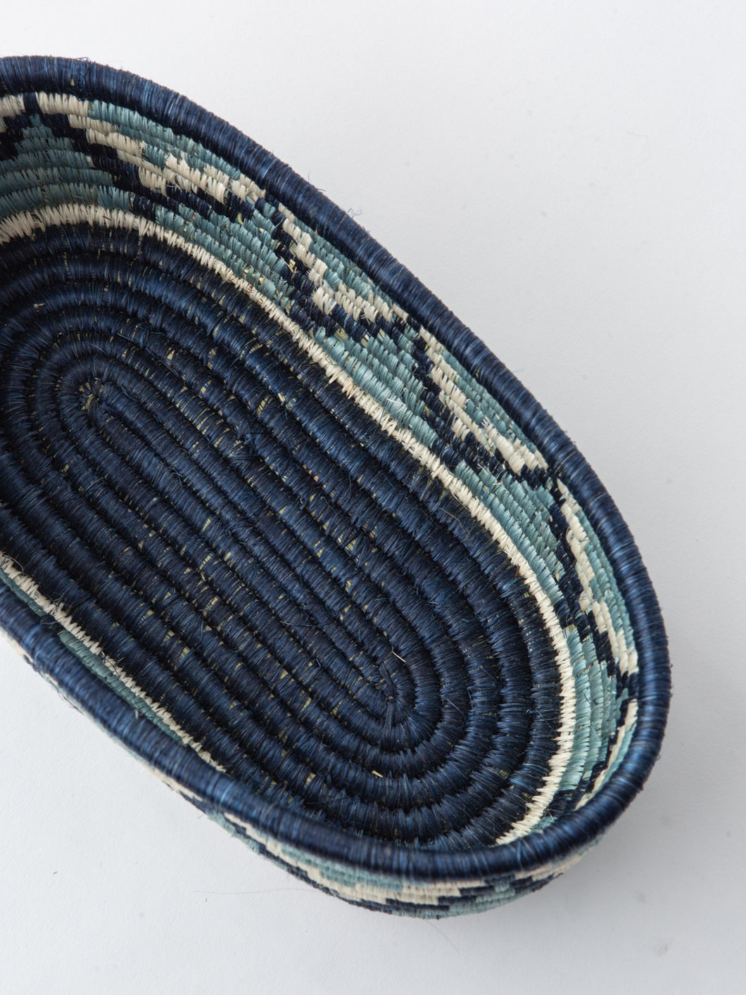 Oval Basket in Navy and Light Blue