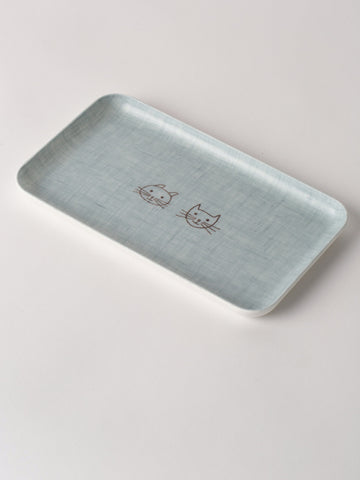 Children's Linen Tray Cat In Baby Blue