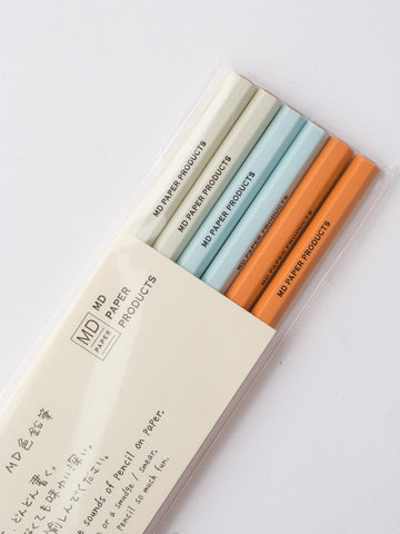 Set of 6 Colored Japanese Pencils