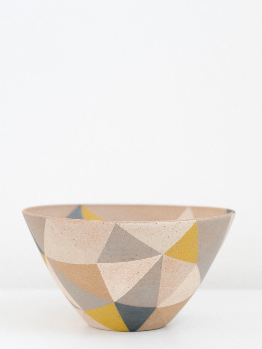Large Triangle Pattern Bowl in Mustard, Black and Browns