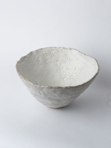 White Distressed Decorative Ceramic Vessel