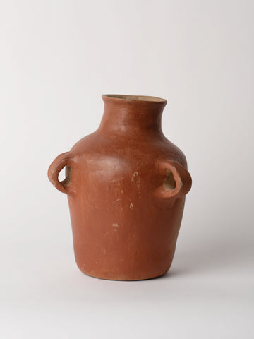 Handmade Three Handled Earthenware Terracotta Vase