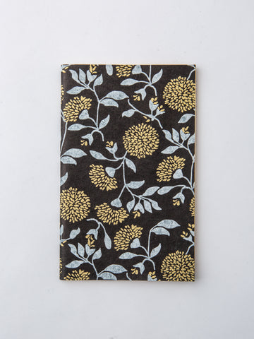 Journal in Black, Gold, and Silver Floral