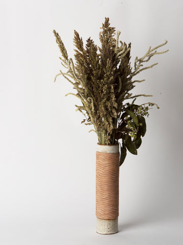Leather Wrapped Ceramic Vase in Off White and Natural