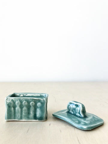 Handmade Petite Ceramic Box with Lid in Blue