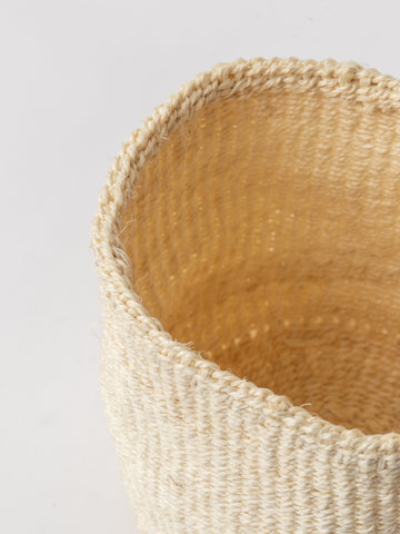 Medium Sisal Cylindrical Basket in Ivory