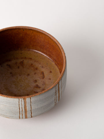 Ceramic Stripe Bowl in Grey and Terracotta
