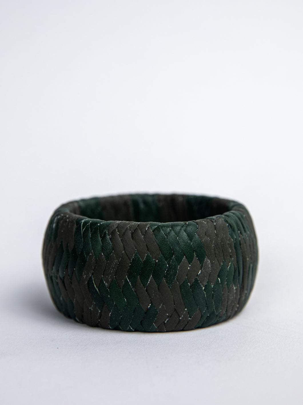 Olive & Emerald Leather Bangle