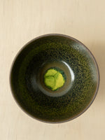 Handmade Studio Serving Bowl with Green and Ochre