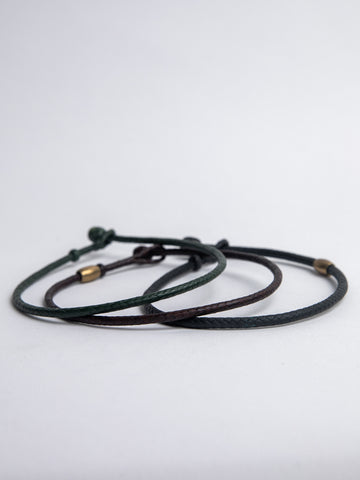 Leather Braided Choker in Green