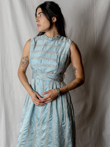 Vintage Dress in Blue Silk Stripe