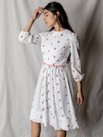 Vintage Cotton Dress in Ivory with Roses