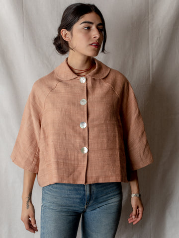 Annam Raw Silk Cropped Jacket in Rose