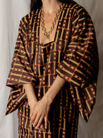 Vintage Brown, Orange and Mustard Silk Kimono